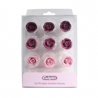 Purple Ombre Sugar Roses - 12 piece - 20mm